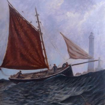 Anonyme; Caseyeur au large de l'île Vierge, huile sur carton, 65 cm x 54 cm, 1935