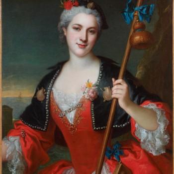 Henri Millot ( ? - 1756); Portrait de femme en costume de pèlerine de Saint-Jacques Huile sur toile. 87 x 69 cm