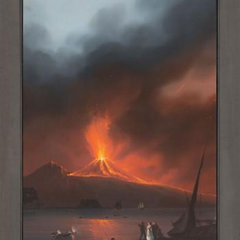 Gioacchino LA PIRA (actif à Naples au milieu du XIX° siècle ) La grande éruption du Vésuve de 1822 Gouache : 63,00 x 43,5 cm Signée au verso « La Pira » et annotée « Eruzione del 1822»