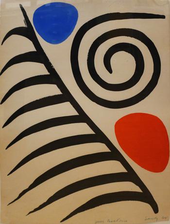Calder, Composition Gouache sur papier, 1964. 65x50. Signé Sandy en bas à droite