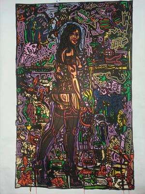Combas, Composition Huile sur toile de 2000, 195x120