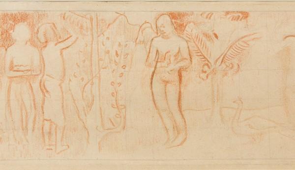 """PAUL GAUGUIN (1848-1903) - """"Faa Iheihe (Préparatifs de fête)"""" 1898 - Sanguine, crayon graphite, mise au carreau sur papier chamois"""