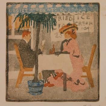 """Ethel Mars 1976 1956 """" A la Terrasse"""" circa 1905 bois gravé 178 x 168 mm signé en bas à droite"""