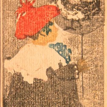 """Ethel Mars 1976 1956 """" L'enfant au ballon"""" circa 1904 bois gravé 107 x 68 mm"""
