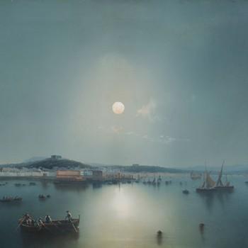 Gaetano DURA ( (1805 – 1878) Naples vue de la mer un soir de pleine lune Gouache : 41,00 x 63,00 cm Signée en bas à gauche : « G.Dura »