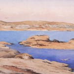 François Bouchard (fin XIXème - début XXème); La pointe de Beg er Vil, Quiberon, aquarelle sur papier, 20 cm x 43,5 cm, signé en bas à gauche, 1908