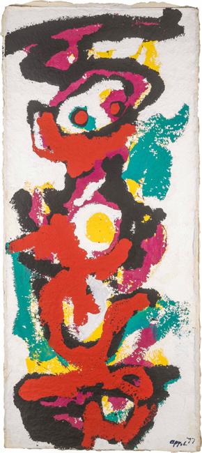 Karel Appel , I am a Totem,1977, Acrylique sur papier artisanal, 179 x 78 cm, signé et daté en bas à droite