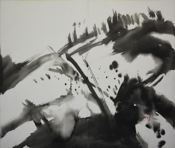 T'ang Haiwen, Composition, Encre de Chine sur papier (diptyque), 100 x 70 cm, signé en bas à droite