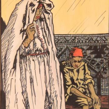 """Géo-Fourrier 1898-1966 """"projet pour Amrou frère des aigles"""" 1928 encre et aquarelle 315 x 245 mm"""