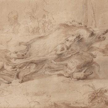 """Frans Snyders (1579-1657) """"La chasse au sanglier""""; Plume, encre brune et lavis. 210 x 340 mm"""