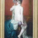 Marius ABEL (Marseille 1832 - Paris 1870) Jeune femme nue au miroir Huile sur toile, signée en haut à gauche et datée 1869. 110 x 62 cm