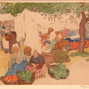 "Maud Hunt Squire 1873-1955 ""Marché en Bretagne"" circa 1906 crayon et aquarelle 250 x 325 mm"