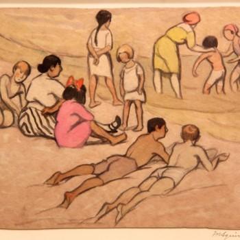 """Maud Hunt Squire 1873-1955 """"sur la plage"""" circa 1916 crayon et aquarelle 230 x 290 mm"""