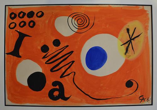 """Alexandre Calder """"Lettres et constellations"""" Gouaches sur papier 38 x 57 cm 1961"""