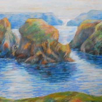 Armand Guillaumin (1841 - 1927); Les rochers de Goulphar, Belle île, pastel sur papier, 48,2 cm x 60,5 cm, signé en bas à droite, 1895
