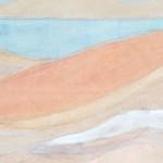 Maurice Denis (1870 - 1943); Feu de goémon devant la mer au Pouldu (détail), tempéra sur papier, 98 cm x 46 cm, signé en bas à droite, 1894